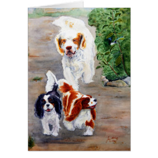 card - Travellers - Clumber Spaniel and Cavaliers