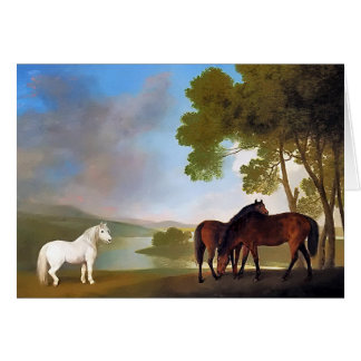 Card: Two Bay Mare & a Grey  Pony