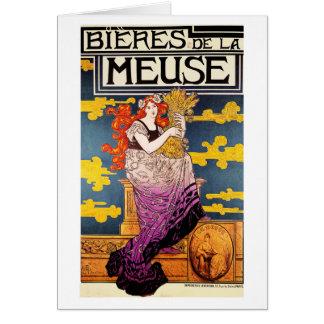 "Card: Vintage Art  -  ""Bieres de la Meuse"" Greeting Card"