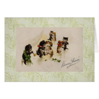 Card-Vintage Christmas Cats Dogs Dancing Card