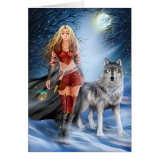 Card Winter Warrior Princess and  wolf