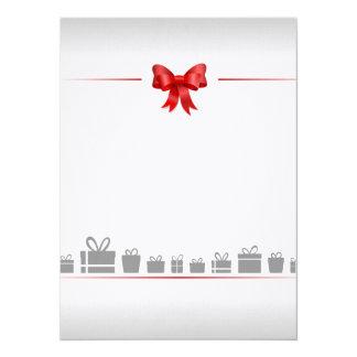 "Card with bow and poison 5.5"" x 7.5"" invitation card"