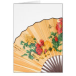 Card with chinese silk fan.