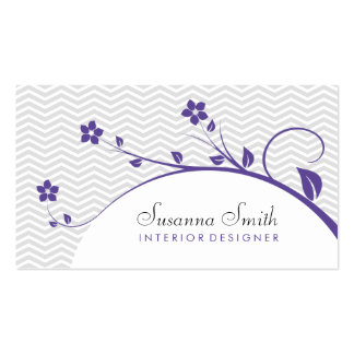 Card with flowers elegant purple and chevrón business card template