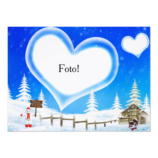 """Card with heart to place photo """"Christmas """""""