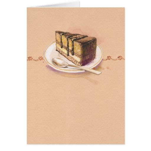 Card with painted watercolor cake