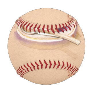 Card with painted watercolor cake baseball