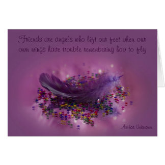 Card with Quote - Purple Fairys Feather