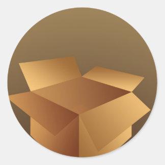 Cardboard Box Classic Round Sticker
