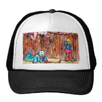 Cardboard Boxes Fences and Clotheslines Mesh Hats