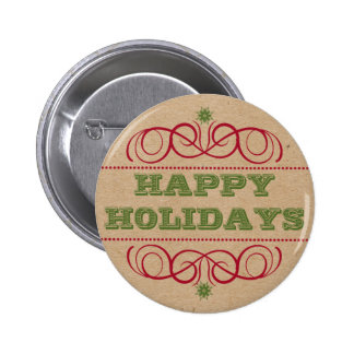Cardboard Craft Style Happy Holidays Button