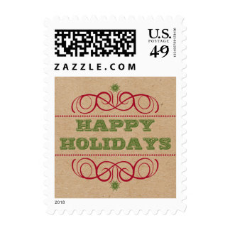 Cardboard Craft Style Happy Holidays Postage Stamps