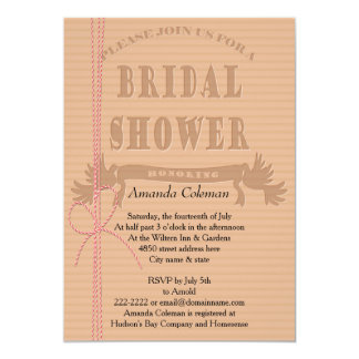 CardBoard Cutout Heart Bridal Shower Invitation