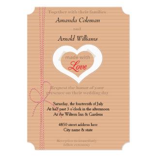 CardBoard Cutout Heart Wedding Paper Invitation