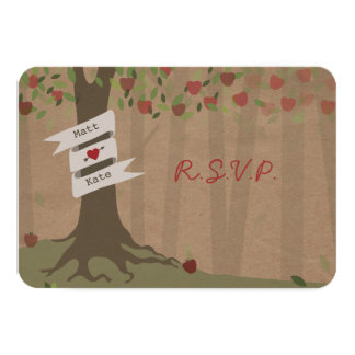 Cardboard Inpsired Apple Orchard Wedding RSVP Card