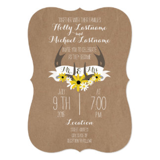Cardboard Inspired Antlers + Wildflowers Wedding Card