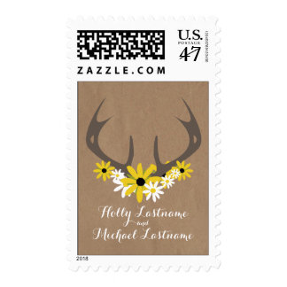 Cardboard Inspired Antlers + Wildflowers Wedding Postage