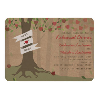 Cardboard Inspired Apple Orchard Rehearsal Dinner Card