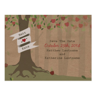 Cardboard Inspired Apple Orchard Save The Date Postcard