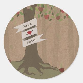 Cardboard Inspired Apple Orchard Wedding Classic Round Sticker