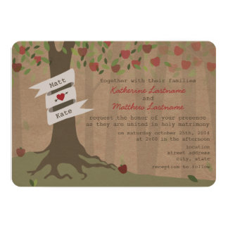 "Cardboard Inspired Apple Orchard Wedding Invite 5"" X 7"" Invitation Card"