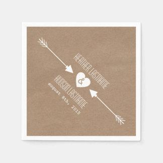 Cardboard Inspired Arrows Wedding Napkins