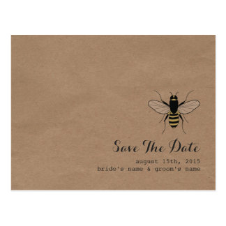 Cardboard Inspired Honey Bee Save The Date Postcard