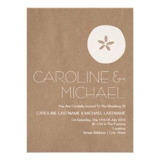Cardboard Inspired Sand Dollar Beach Wedding Custom Announcements