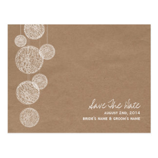 Cardboard Inspired Twine Globes Save The Date Postcard