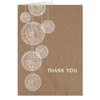 Cardboard Inspired Twine Globes Thank You Card