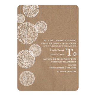 Cardboard Inspired Twine Globes Wedding 5x7 Paper Invitation Card