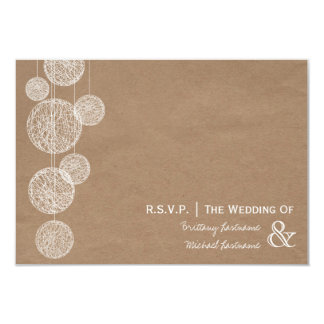 Cardboard Inspired Twine Globes Wedding R.S.V.P. 3.5x5 Paper Invitation Card