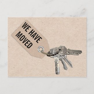 Cardboard Keys New Home Moving New Address Announcement Postcard