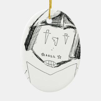 Cardboard Samurai.jpg Ceramic Ornament