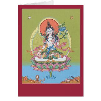 CARDE Tara blanco - con la explicación y el mantra Felicitaciones