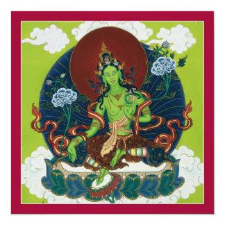 CARDE Tara verde - tarjeta cuadrada con el sobre Invitacion Personal