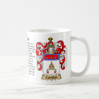 Carden el origen el significado y el escudo taza de café