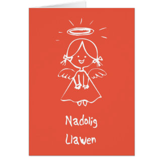Carden Nadolig - ángel (Galés) Tarjeta De Felicitación