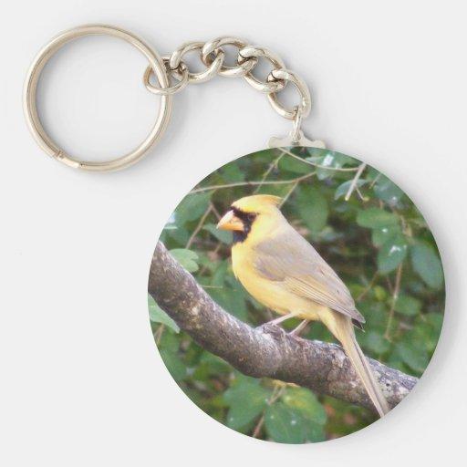 Cardenal amarillo llavero redondo tipo pin