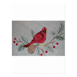 Cardenal bordado postales