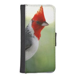 Cardenal con cresta rojo fundas cartera de iPhone 5