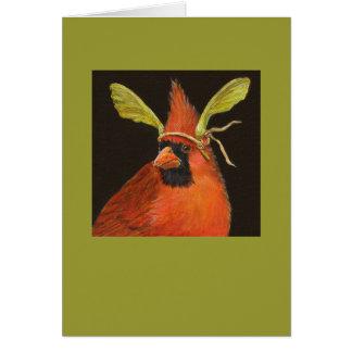 cardenal con el gorra de la semilla del arce en ta tarjeta de felicitación