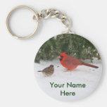 Cardenal con el gorrión llavero redondo tipo pin