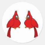 Cardenal de Carlee y de Carlie Etiquetas Redondas
