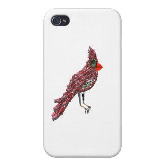 Cardenal de Dada (pájaro cardinal rojo de Cadillac iPhone 4 Carcasa