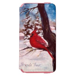 Cardenal de la serenidad del invierno funda billetera para iPhone 6 watson