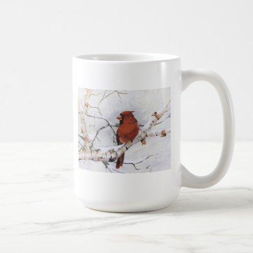 Cardenal de sexo masculino del invierno hermoso tazas