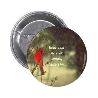 Cardenal de sexo masculino pin redondo de 2 pulgadas