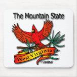 Cardenal del estado de la montaña de Virginia Occi Alfombrillas De Raton