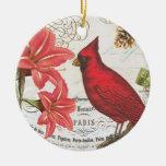 cardenal del invierno del vintage adorno navideño redondo de cerámica